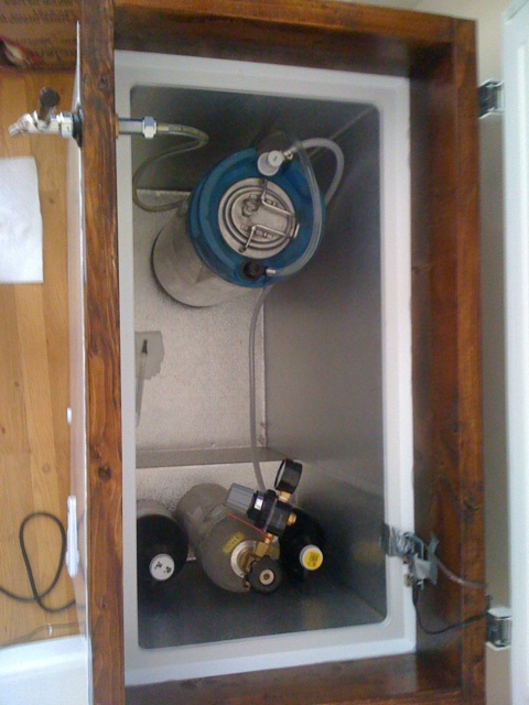 Kegerator from above showing 1 keg and CO2 tank